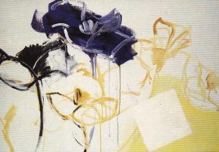 En bleu anémones et carré blanc acrylique toile 81x116